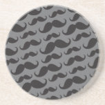 Black and grey trendy funny moustache pattern drink coasters
