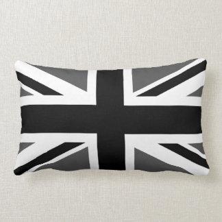Black and Grey Union Jack Throw Pillow