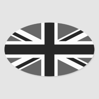 Black and Grey Union Jack Oval Sticker