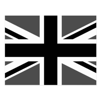 Black and Grey Union Jack Postcard