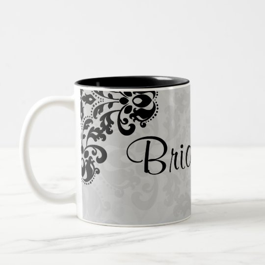 Black and grey victorian damask bridesmaid wedding Two-Tone coffee mug