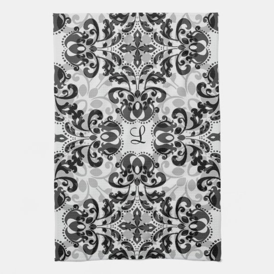 Black and grey victorian damask decor tea towel