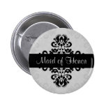Black and grey victorian damask maid of honour 6 cm round badge