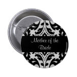 Black and grey victorian damask mother of bride 6 cm round badge