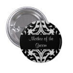 Black and grey victorian damask mother of groom 3 cm round badge
