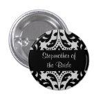 Black and grey victorian damask stepmother bride 3 cm round badge