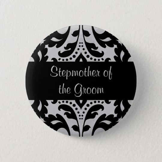Black and grey victorian damask stepmother groom 6 cm round badge