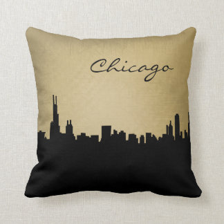 Black and Grunge Chicago Landmark Pillow