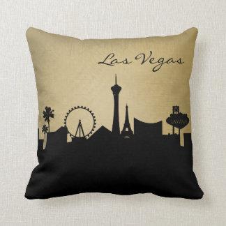 Black and Grunge Las Vegas Skyline Cushion