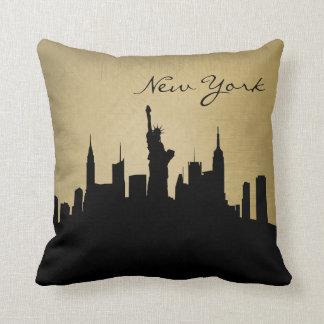 Black and Grunge New York Skyline Throw Pillow