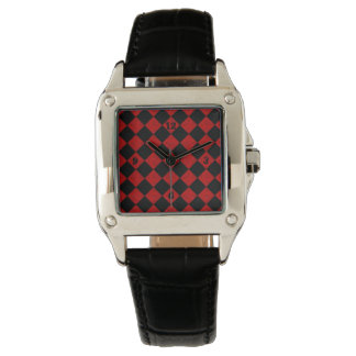 Black and hombre red diamond checker pattern watch