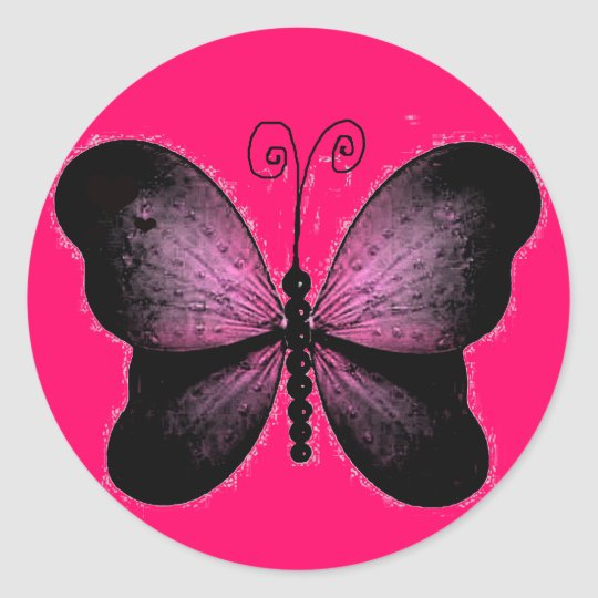 Black And Hot Pink Butterfly Sticker Zazzle Co Uk