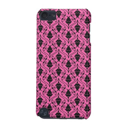 Black and Hot Pink Fuchsia Floral Damask Pattern iPod Touch 5G Cases
