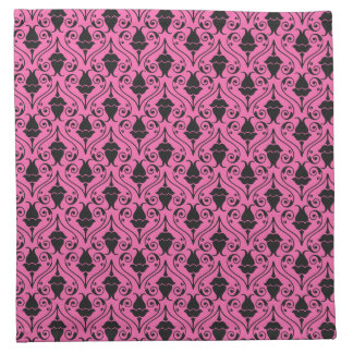 Black and Hot Pink Fuchsia Floral Damask Pattern Napkin