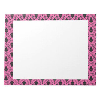 Black and Hot Pink Fuchsia Floral Damask Pattern Notepad