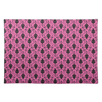 Black and Hot Pink Fuchsia Floral Damask Pattern Placemat