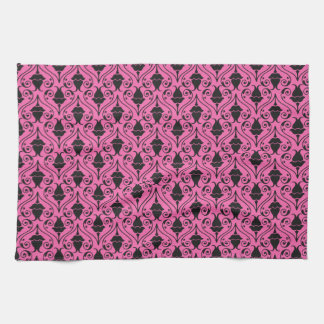 Black and Hot Pink Fuchsia Floral Damask Pattern Tea Towel