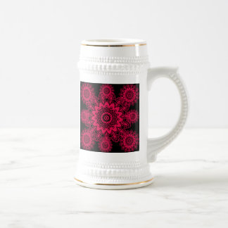 Black and Hot Pink Fuchsia Lace Snowflake Mandala Beer Steins