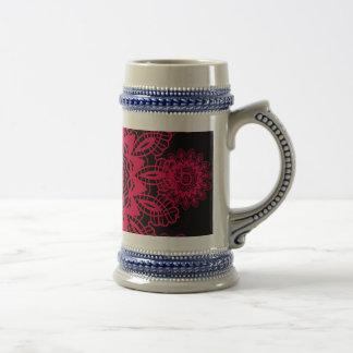 Black and Hot Pink Fuchsia Lace Snowflake Mandala Beer Steins
