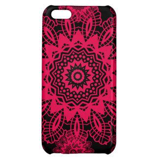 Black and Hot Pink Fuchsia Lace Snowflake Mandala iPhone 5C Cover