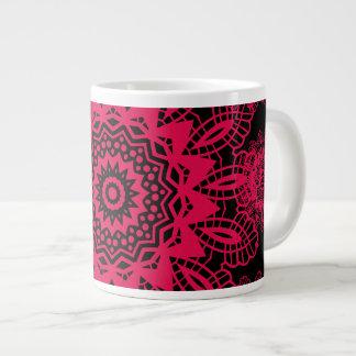 Black and Hot Pink Fuchsia Lace Snowflake Mandala Extra Large Mug