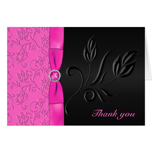 Black and Hot Pink Jewelled Thank You Card Greeting Card