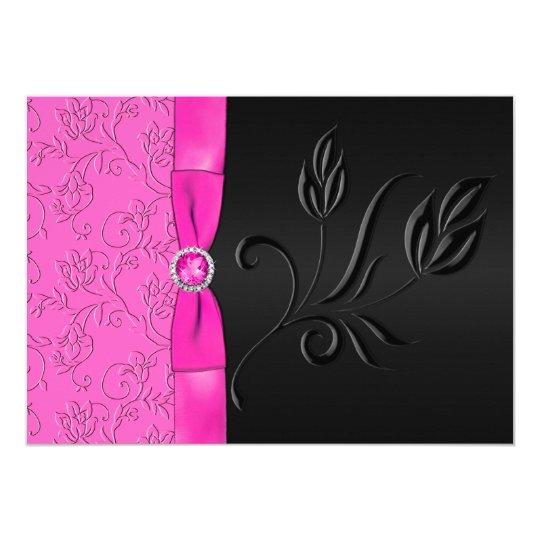 Black and Hot Pink Jewelled Wedding Invitation