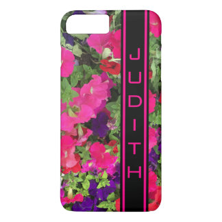 Black and Hot Pink Personalized Vertical Bar Photo iPhone 8 Plus/7 Plus Case