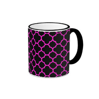 Black and Hot Pink Quatrefoil Pattern Coffee Mug