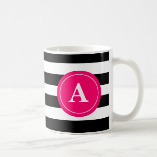 Black and Hot Pink Stripe Monogram Coffee Cup