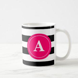 Black and Hot Pink Stripe Monogram Coffee Cup Basic White Mug