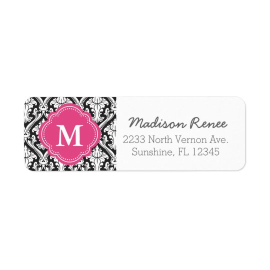 Black and Hot Pink Trendy Damask Custom Monogram