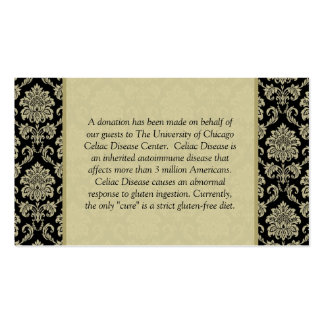 Black and Ivory Damask Reception Table Card Pack Of Standard Business Cards