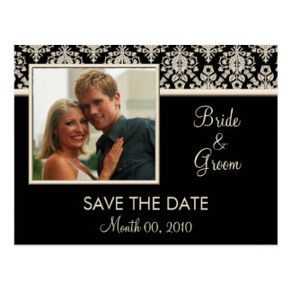 Black and Ivory Damask Save the Date Postcards