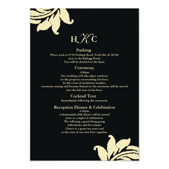 Black and Ivory Damask Wedding Enclosure Card Cust