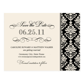 Black and Ivory Elegant Damask Save the Date Postcard