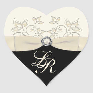 Black and Ivory Heart Shaped Wedding Sticker