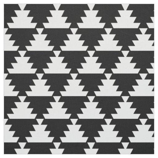Black and Ivory Modern Aztec Geometric Pattern Fabric