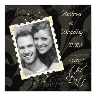 Black and Ivory Photo Save the Date Card 13 Cm X 13 Cm Square Invitation Card