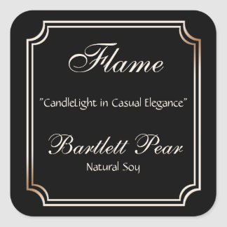 Black and Ivory Scallop Frame Candle Label Square Sticker