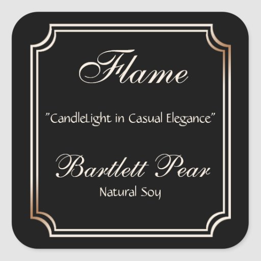 Black and Ivory Scallop Frame Candle Label Stickers