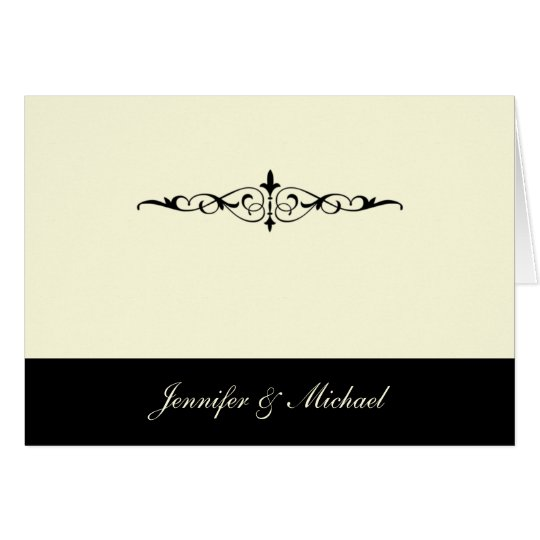 Black and Ivory Thank You Card