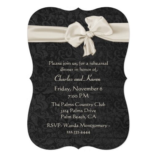 Black and Ivory Wedding Rehearsal Dinner Card