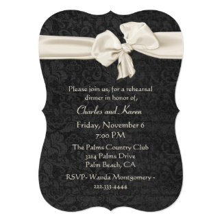 Black and Ivory Wedding Rehearsal Dinner 5x7 Paper Invitation Card