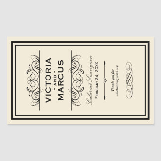 Black and Ivory Wedding Wine Bottle Monogram Favor Rectangular Sticker