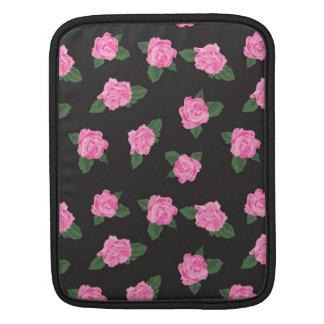 Black and large pink rose iPad / iPad 2 sleeve