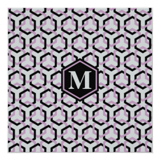 Black and Lavender Hexes Hexes Invitation