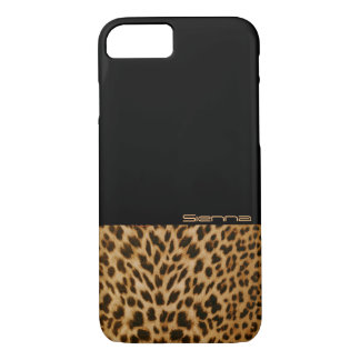Black and Leopard Pattern iPhone 7 Case