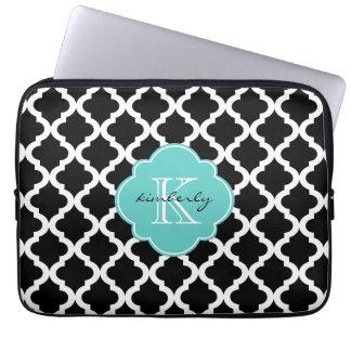 Black and Light Aqua Moroccan Quatrefoil Print Laptop Sleeve