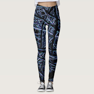 Black and light blue abstract pattern leggings